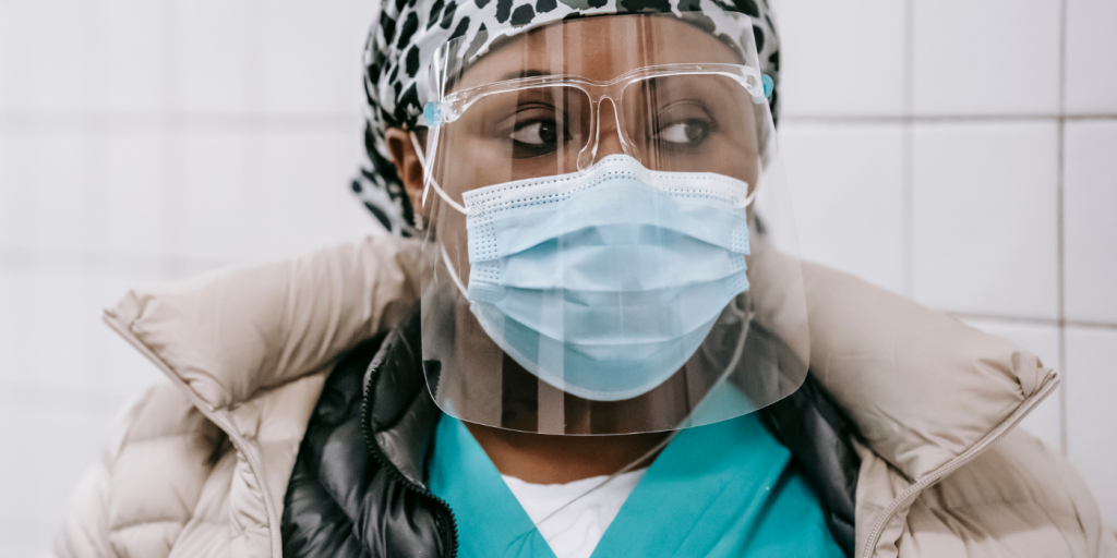 Health care worker in mask